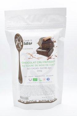 Ciocolată crudă de patiserie 75% cu zahăr din nucă de cocos image