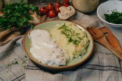 Orez cu unt, piept de pui și sos gorgonzola  image