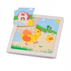 Mini Puzzle Găină - New Classic Toys