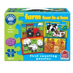 Set 4 puzzle- La fermă (4 6 8 sau 12 piese) - Farm Four in a Box - Orchard Toys