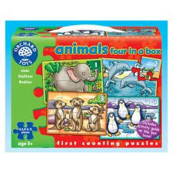 Set 4 Puzzle Animale (4, 6, 8 și 12 piese) - Animals Four in a Box - Orchard Toys