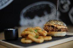Pulled Pork Burger with fries & garlic image