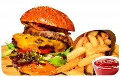 Meniu Dublu cheeseburger + cartofi prăjiți + sos image