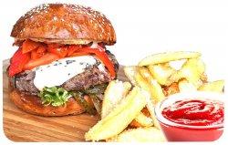 Meniu Italian burger + cartofi prăjiți + sos image