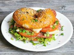 Fresh tomato salami bagel image