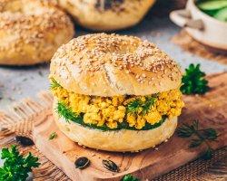 Vegan tofu bagel image