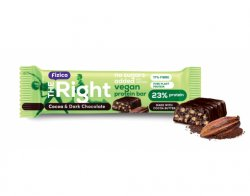 Baton proteic Vegan cu cacao si ciocolata neagra Fizico The Right