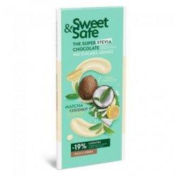 Ciocolata alba cu Matcha, cocos si lamaie  Stevia Sweet&Safe, 90g, SLY NUTRITIA