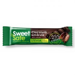 Ciocolata amaruie 60% cu indulcitor din Stevia Sweet&Safe  25g  Sly Nutritia