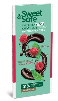 Ciocolata amaruie cu seminte canepa si zmeura Sweet&Safe