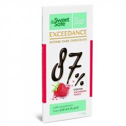 Ciocolata neagra 87% cu capsuni si indulcitor din Stevia Sweet&Safe 90g, SLY NUTRITIA