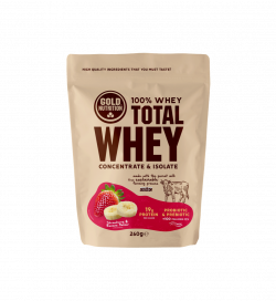Pudra Proteica, Total Whey, Capsuni si Banane, 260 gr, Gold Nutrition