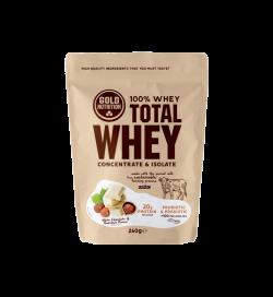 Pudra Proteica, Total Whey, Ciocolata Alba si Alune, 260 gr, Gold Nutrition