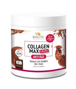Supliment alimentar anti-aging cu colagen si acid hialuronic, Biocyte, Collagen Max cacao, 260 g