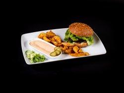 Burger de vita Black Angus, cu cartofi wedges image