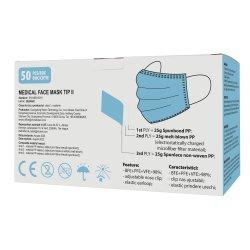 Set 50 bucati Masti faciale medicale, de unica folosinta, tip II, 3 straturi, Albastru image