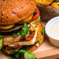 Healthy and special burger Halloumi burger image
