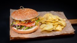 Beef burger with chips image