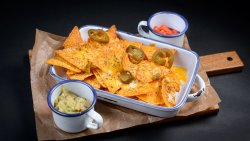 Nachos with cheese, salsa and guacamole image