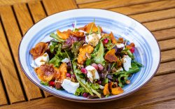 Goat Cheese Salad with Sweet Potatoes, Nuts and Pomegranate image