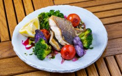 Sea Bass with Grilled Tomatoes and Broccoli image