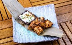 Tandoori Herb Marinated Turkey Breast on Skewers With Tzatziki image