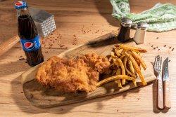 Kinder schnitzel  + cartofi + suc/apa image
