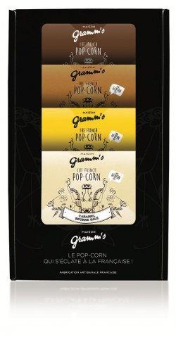 Cutie cadou 4 pliculețe popcorn, ciocolată neagră image