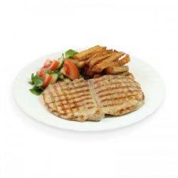 Cotlet de porc la grătar cu cartofi pai, salată asortată și pâine