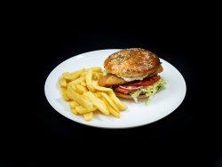Burger de pui crispy Papa Bun+cartofi prăjiți image