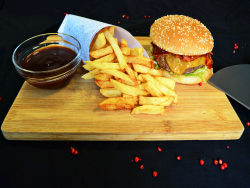 Bbq burger  + french fries image