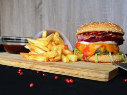 Australian burger  + french fries image