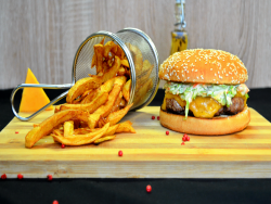 Coleslaw burger  + french fries image