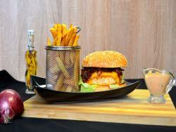 Seasoning Burger with French Fries image