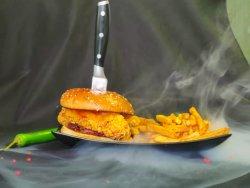 Hot crispy chicken burger + french fries (400g) image
