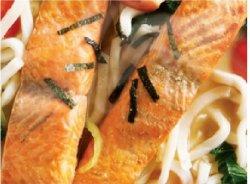 Salmon udon soup