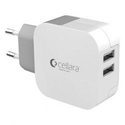 Încărcător rețea  Cellara Dual Usb 2.4a/2.4a Alb