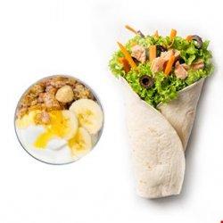 King wrap (250g) + iaurt grecesc cu musli crunch, banane și miere (200g)