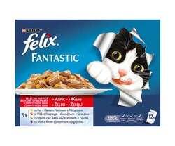 Felix Fantastic hrana umeda pentru pisici in aspic cu carne 12 x 100 g image