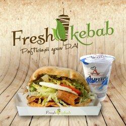 34. Meniu Fresh Kebab lacto-vegetarian cu brânză + ayran