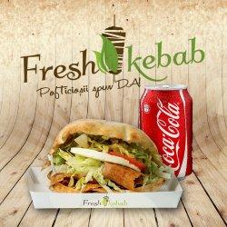 07. Meniu Fresh Kebab lacto-vegetarian cu mozzarella + Coca Cola 330 ml